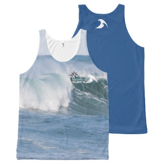 'Surf's Up' Wave All-Over Printed Unisex Tank All-Over Print Tank Top
