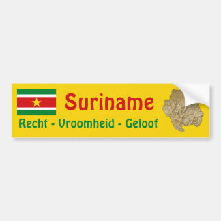 Suriname Flag and Map Bumper Sticker