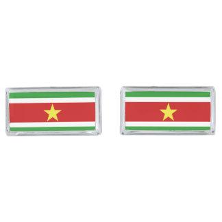Suriname Flag Silver Finish Cufflinks
