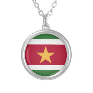 Suriname flag silver plated necklace