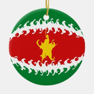 Suriname Gnarly Flag Christmas Ornaments
