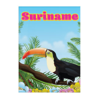 Suriname South american paradise travel poster Acrylic Wall Art