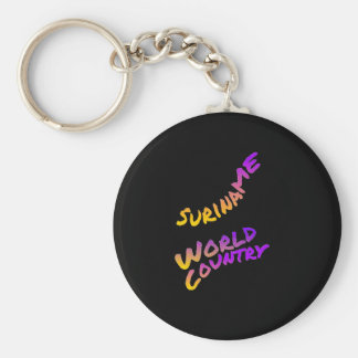 Suriname world country, colorful text art key ring