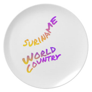Suriname world country, colorful text art plate