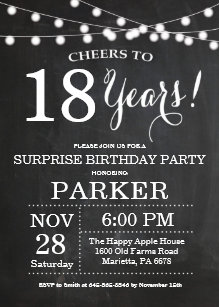 Surprise 18th Birthday Invitation Chalkboard
