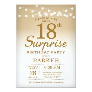 Surprise 18th Birthday Invitation Gold