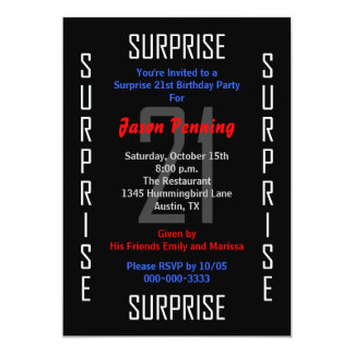 Surprise 21st Birthday Party Invitation 21