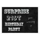 Surprise 21st Birthday Party Invitation Chalkboard 13 Cm X 18 Cm Invitation Card