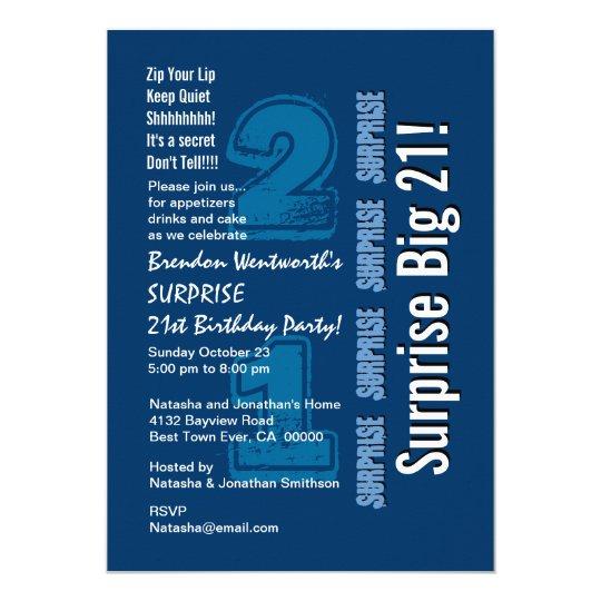 SURPRISE 21st Modern Birthday Navy White Big 21 Card