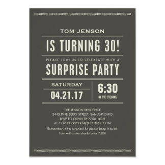 Surprise 30th Birthday Invitations