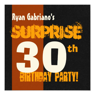 SURPRISE 30th Birthday Modern Black and Gold W569 13 Cm X 13 Cm Square Invitation Card