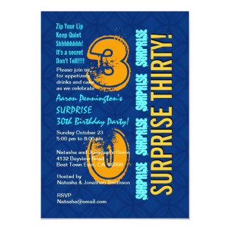 SURPRISE 30th Birthday Modern Blue and Gold F544 13 Cm X 18 Cm Invitation Card