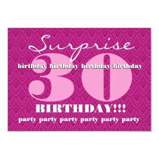 Surprise 30th Birthday Party Feathered Chevron 11 Cm X 16 Cm Invitation Card
