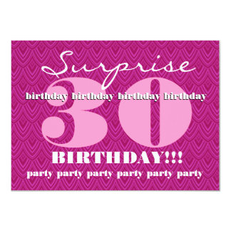 Surprise 30th Birthday Party Feathered Chevron Card