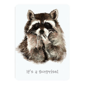Surprise 30th Birthday Party Fun Shhhh Raccoon 5x7 Paper Invitation Card