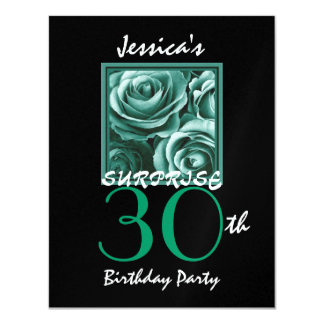 SURPRISE 30th Birthday Party Gold Roses S517 11 Cm X 14 Cm Invitation Card