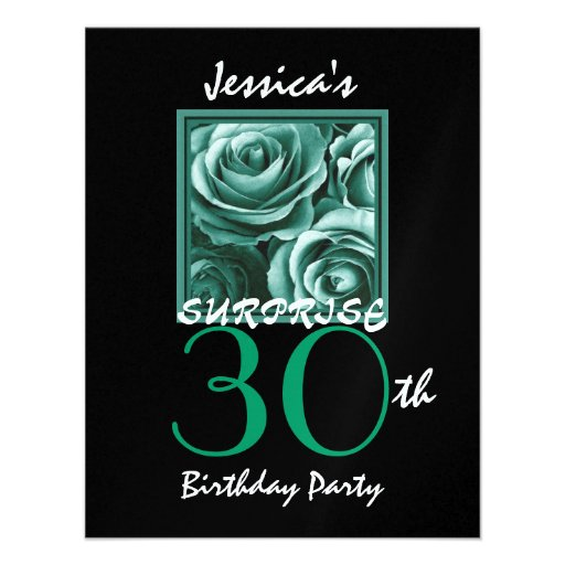 SURPRISE 30th Birthday Party Gold Roses S517 Personalized Invitation