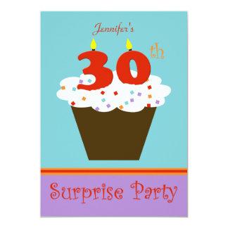 "Surprise 30th Birthday Party Invitation 5"" X 7"" Invitation Card"