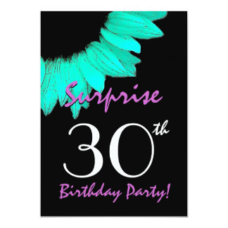 SURPRISE 30th Birthday Party Mint Green Sunflower 13 Cm X 18 Cm Invitation Card