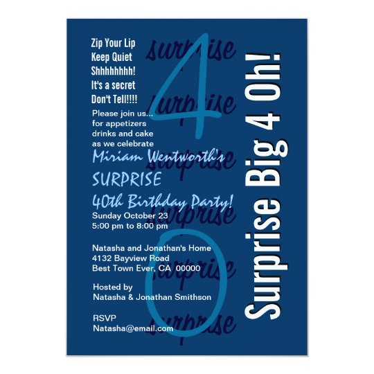 SURPRISE 40th Birthday Modern Navy White Template Card