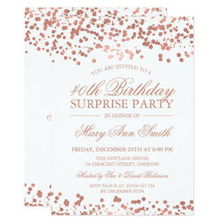 Surprise 40th Birthday Party Rose Gold Foil Card