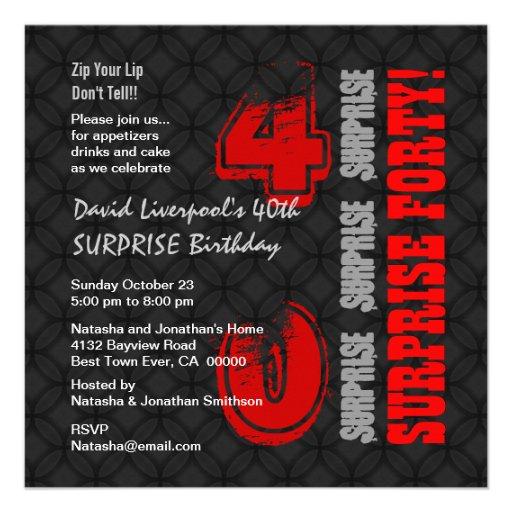 SURPRISE 40th Modern Birthday Black Red W588 Custom Invitation