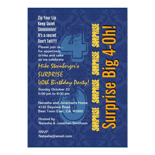 SURPRISE 40th Modern Birthday Blue and Gold R431 Card