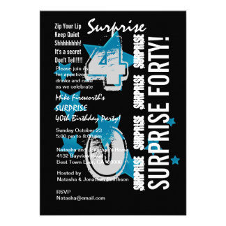 SURPRISE 40th Modern Birthday Blue Stars G304 Personalized Invites