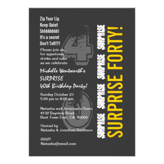 SURPRISE 40th Modern Birthday Gray and Gold Invite