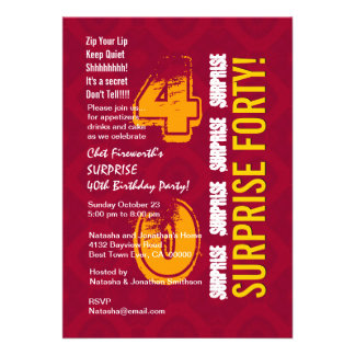 SURPRISE 40th Modern Birthday Red and Gold G302 Cards