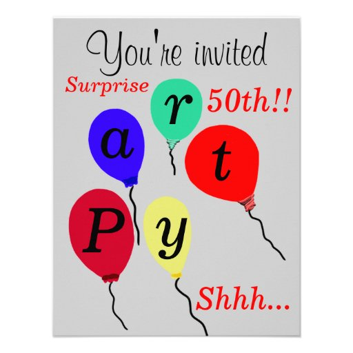 Surprise 50th Birthday Balloons Invitations Personalized Invite