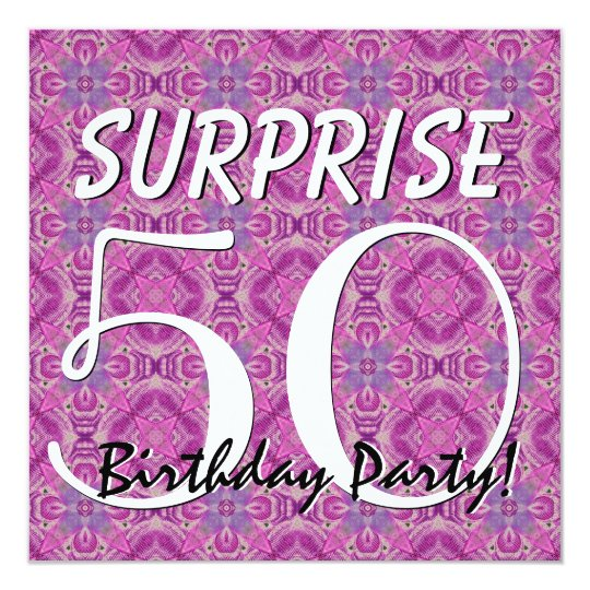 SURPRISE 50th Birthday Magenta and Purple V012 Card