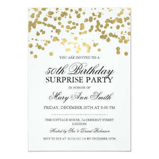 Surprise 50th Birthday Party Gold Foil Confetti Card