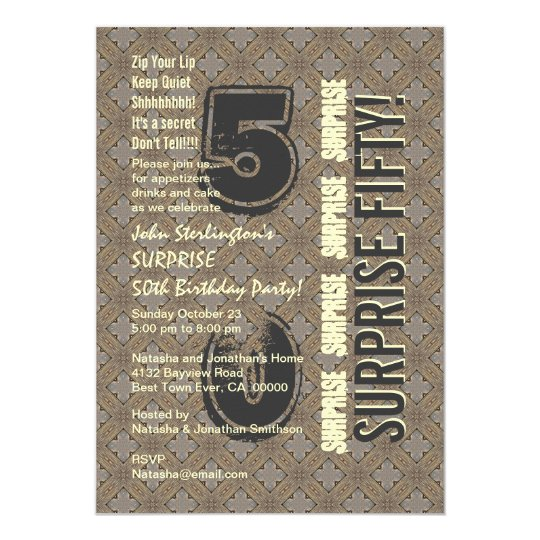 SURPRISE 50th Modern Birthday Wood Tone Pattern Card
