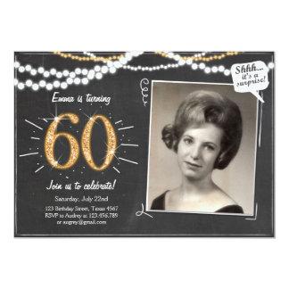 Surprise 60 Sixty Gold glitter Birthday Invitation