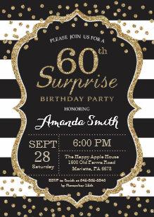 Surprise 60th birthday invitations zazzle surprise 60th birthday invitation gold glitter invitation filmwisefo