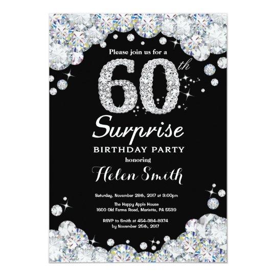 surprise 60th birthday invitation silver diamond