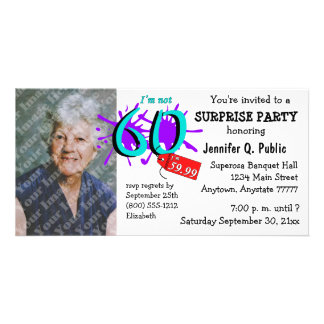 Surprise 60th Birthday Party Photo Invitation Picture Card