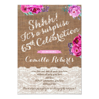 Surprise 65th Birthday Party Invite Cards, Woman