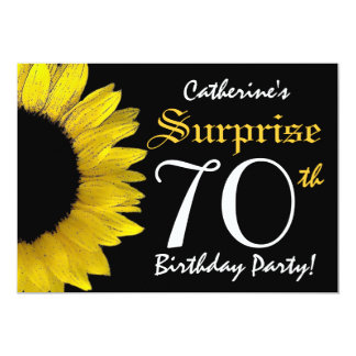 SURPRISE 70th Birthday Black and Yellow Sunflower Card