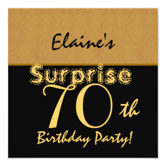 SURPRISE 70th Birthday Gold and Black V005 Card
