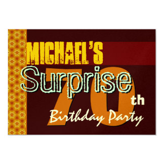 Surprise 70th Birthday Gold and Chocolate Stars Card