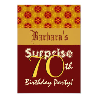 SURPRISE 70th Birthday Gold and Red Stars L002 13 Cm X 18 Cm Invitation Card