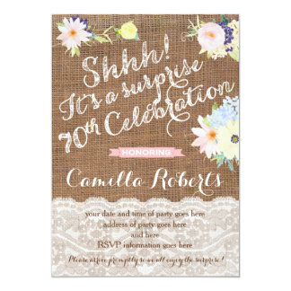 surprise 70th birthday invitations, surprise party card