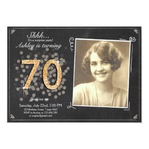 Surprise 70th Birthday Invite Chalkboard Vintage