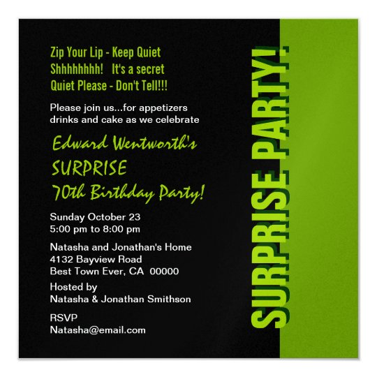 SURPRISE 70th Birthday Modern Black and Green Card