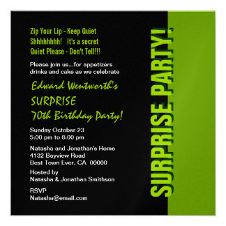 SURPRISE 70th Birthday Modern Black and Green Personalized Invite