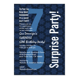 SURPRISE 70th Birthday Modern Blue and White D498 Card