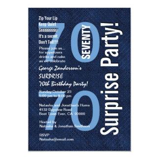 SURPRISE 70th Birthday Modern Royal Blue R604 Card