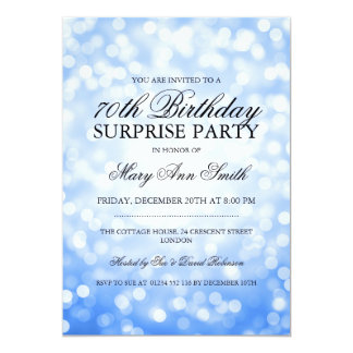Surprise 70th Birthday Party Blue Glitter Lights Card
